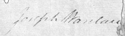 Signature of Joseph Wanlace at 1805 marriage to Jane Pinder